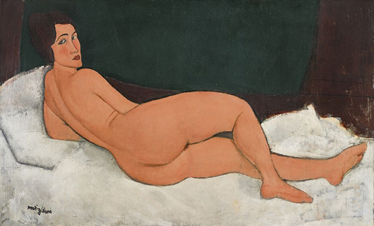 "This 1917 oil painting, ""Nu couche (sur le cote gauche)"" by Amedeo Modigliani, was auctioned at Sotheby's in New York for more than $157 million, in their Impressionist & Modern Art evening sale Monday, May 14, 2018. Sotheby's says the painting had the highest pre-auction estimate for an artwork at $150 million. (Sotheby's via AP)"