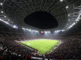 BUDAPEST, HUNGARY - NOVEMBER 15:  A general view of the Puskas Arena in the 14th district of Budapest, host venue of UEFA Euro 2020, the stadium is built in the place of the former Ferenc Puskas Stadium during the International Friendly and official opening of the stadium between Hungary and Uruguay at Stadium Puskas Ferenc on November 15, 2019 in Budapest, Hungary. (Photo by Matthew Ashton - AMA/Getty Images)