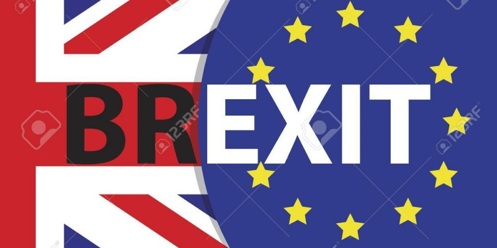 Brexit Text Isolated. Brexit referendum UK (United Kingdom or Great Britain or England) withdrawal from EU (European Union)
